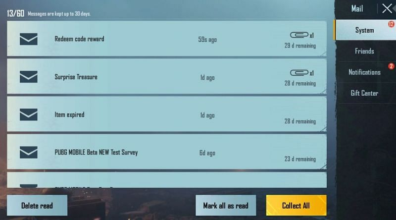 The players can collect the rewards from the in-game mail section