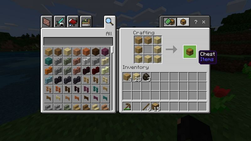 Step 2 for making a chest in minecraft