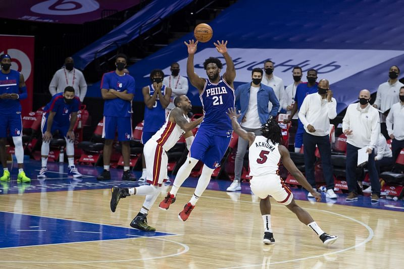 Joel Embiid was in full flow in the first game between Miami Heat and Philadelphia 76ers