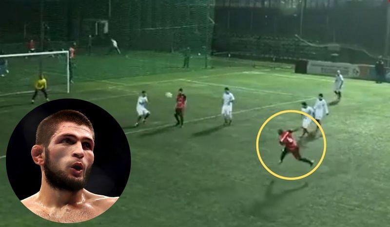 Was it Khabib Nurmagomedov who scored a stunning goal in a Russian Amateur Footbal League game?