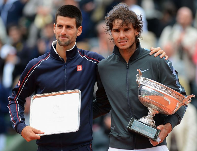 Novak Djokovic (L) and Rafael Nadal at the 2012 French Open
