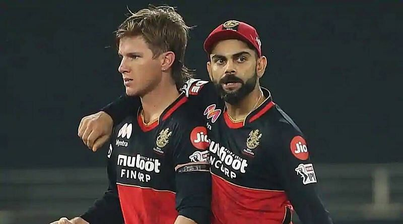 Adam Zampa and Virat Kohli