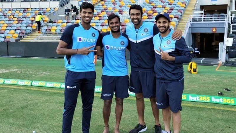 T Natarajan and Ravichandran Ashwin along with Shardul Thakur and Washington Sundar (from left to right)