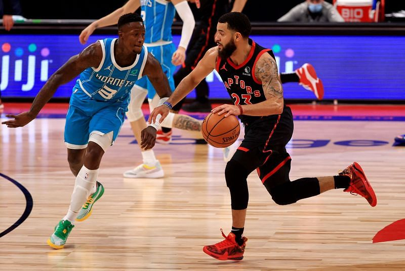 Fred VanVleet #23 of the Toronto Raptors drives on Terry Rozier #3 of the Charlotte Hornets during a game at Amalie Arena on January 16, 2021 (Photo by Mike Ehrmann/Getty Images)