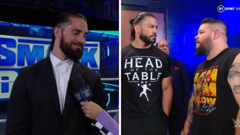 Seth Rollins (left); Roman Reigns and Kevin Owens (right)