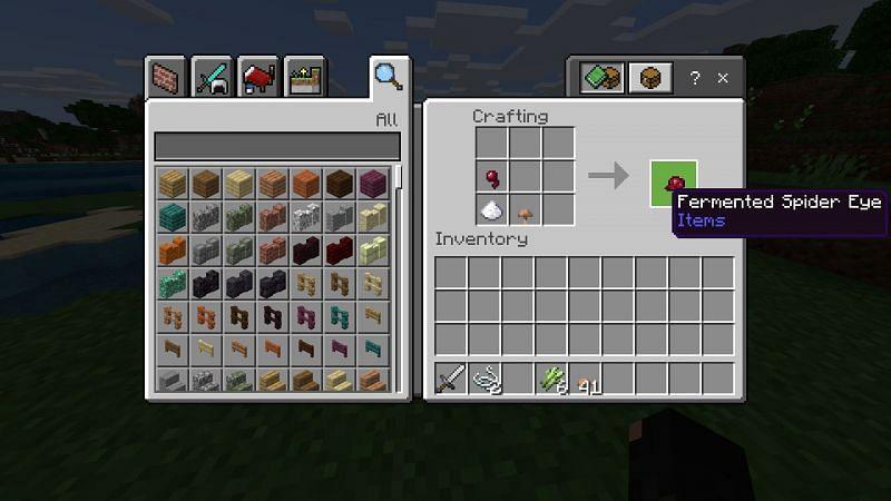 Crafting a fermented spider eye in Minecraft