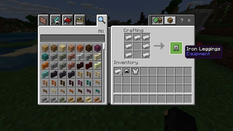 Leggings can be made by placing two columns of three iron ingots on the left and right and another ingot in the top middle slot