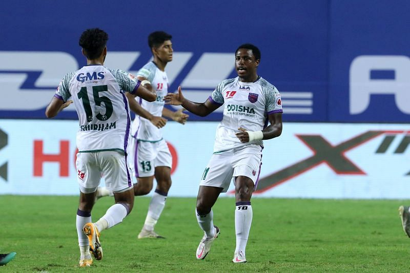 Diego Mauricio (R) is the top-scorer for Odisha FC in the ongoing ISL edition. (Image: ISL)