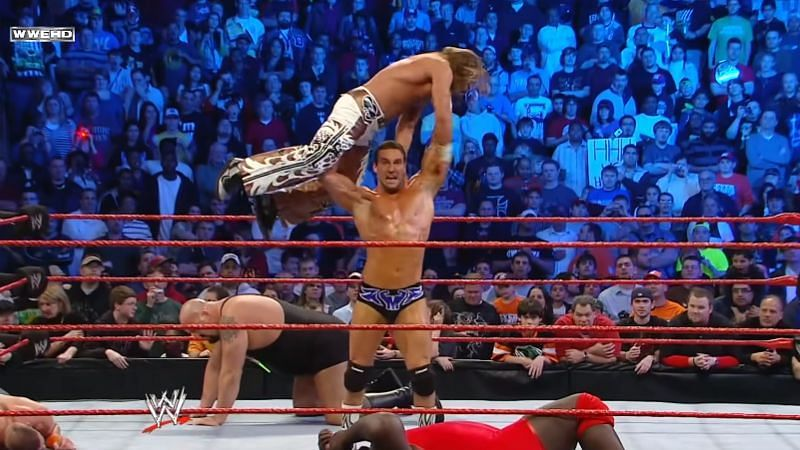 Chris Masters and Shawn Michaels in the 2010 Royal Rumble