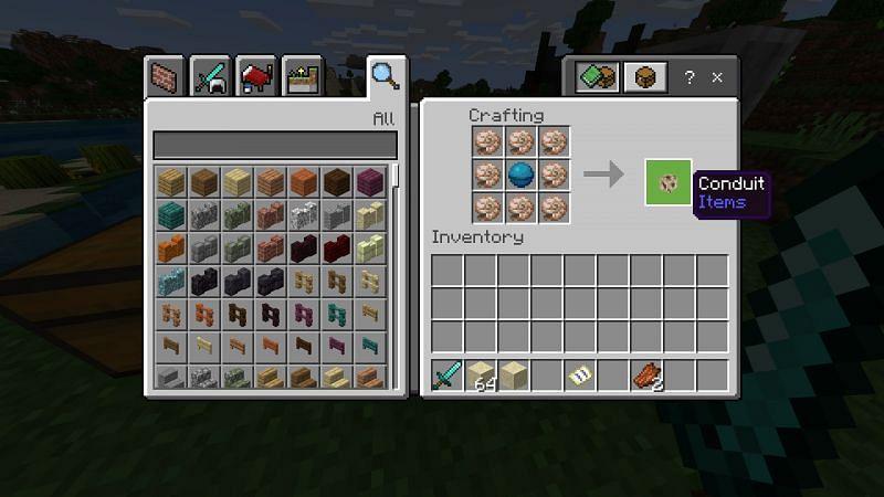 Crafting conduit in Minecraft