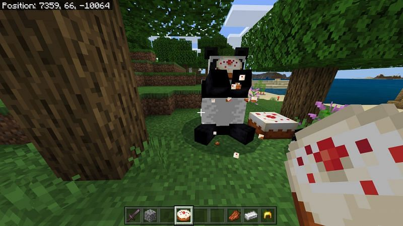 Panda eating dropped cake in minecraft