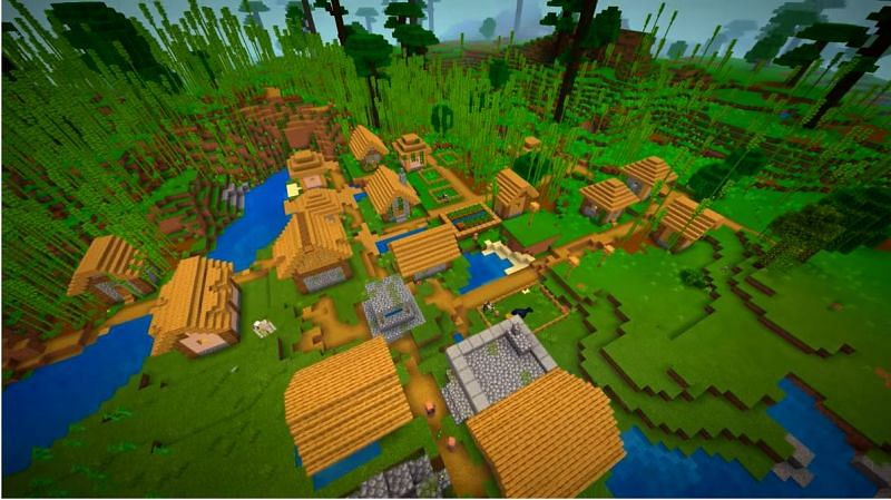 A village that is practically engulfed with bamboo in Minecraft. (Image via Minecraft & Chill/YouTube)