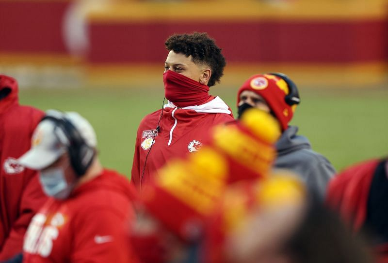 Patrick Mahomes watches from the sideline