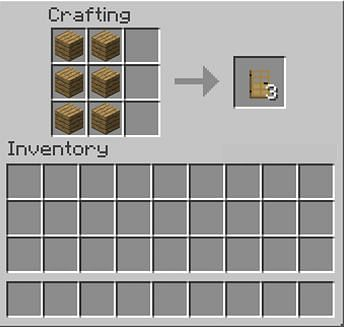 Crafting an Oak door in Minecraft