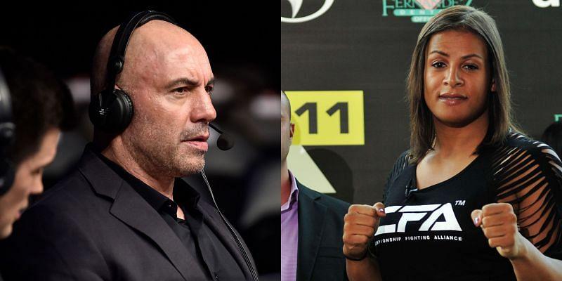 Joe Rogan(L) criticized Fallon Fox(R) for fighting against cisgender female fighters in 2013