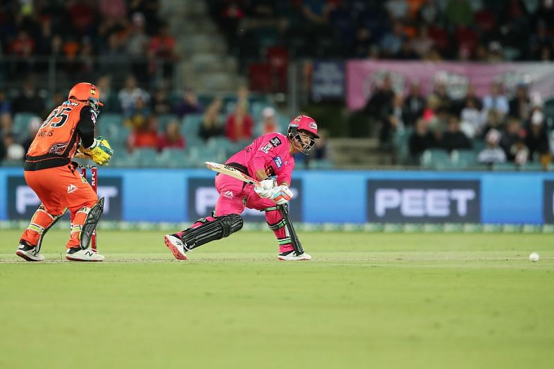 Action from the BBL game between Perth Scorchers and Sydney Sixers