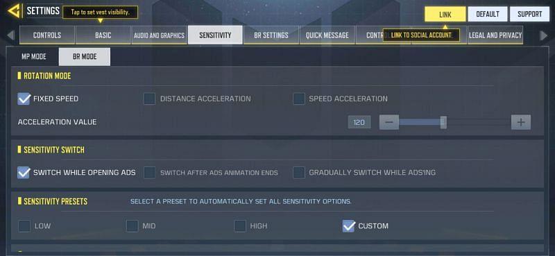 Sensitivity settings in COD Mobile Battle Royale