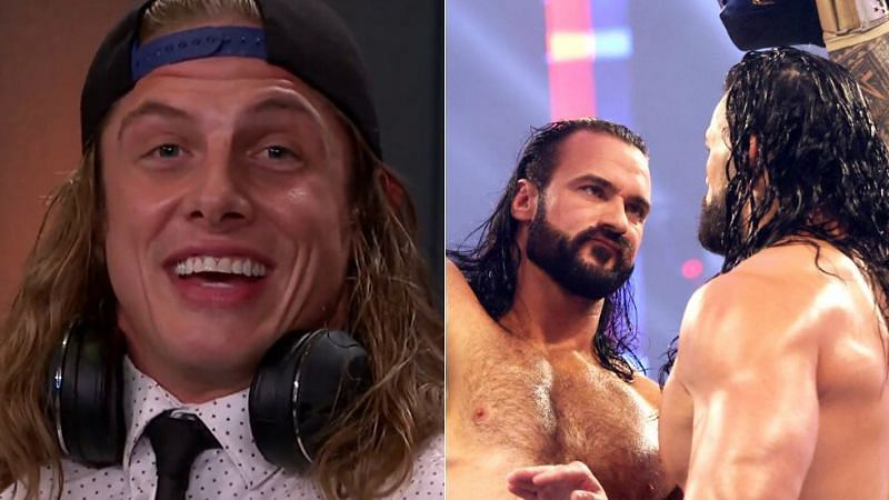 Riddle (left); Drew McIntyre and Roman Reigns (right)