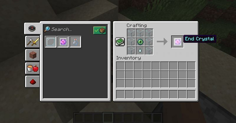 The crafting recipe for an end crystal in Minecraft. (Image via Minecraft)