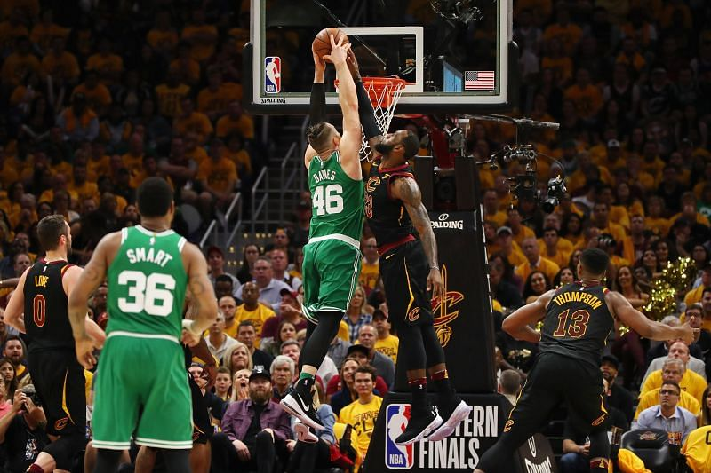 LeBron James #23 of the Cleveland Cavaliers blocks a dunk by Aron Baynes #46 of the Boston Celtics - 2018 ECF.