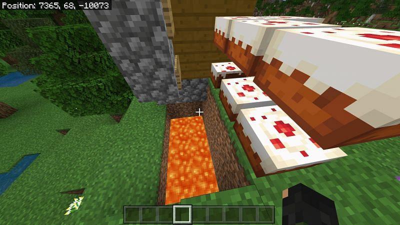 disguising a hidden path using minecraft cake