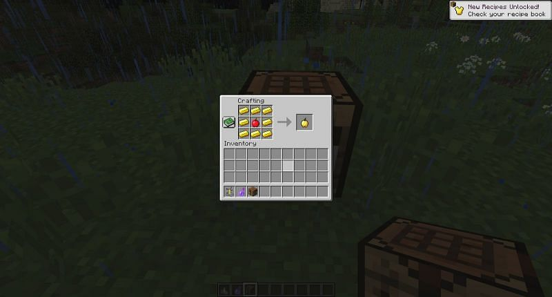 Place apple and gold ingots in the crafting table