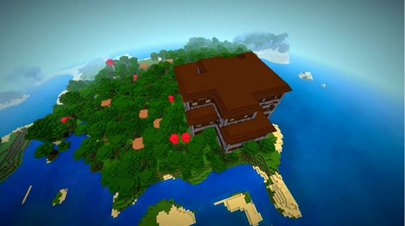 A woodland mansion on a small island in Minecraft. (Image via Minecraft & Chill/YouTube)