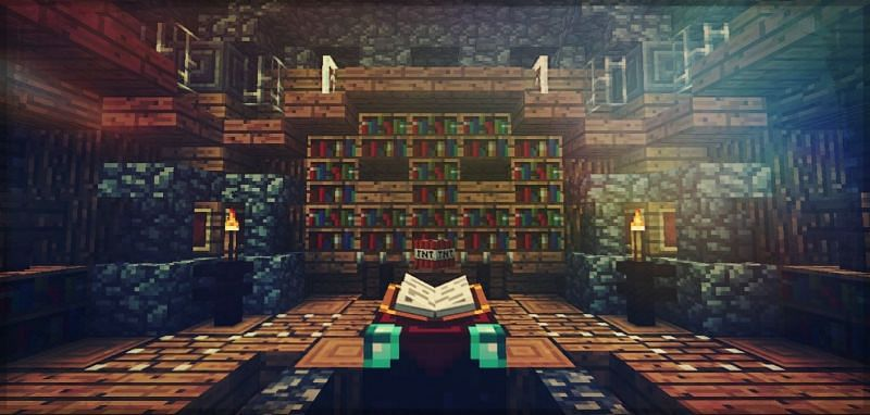 An enchanting table in a player made library in Minecraft. (Image via u/Lmeagno/reddit.com)