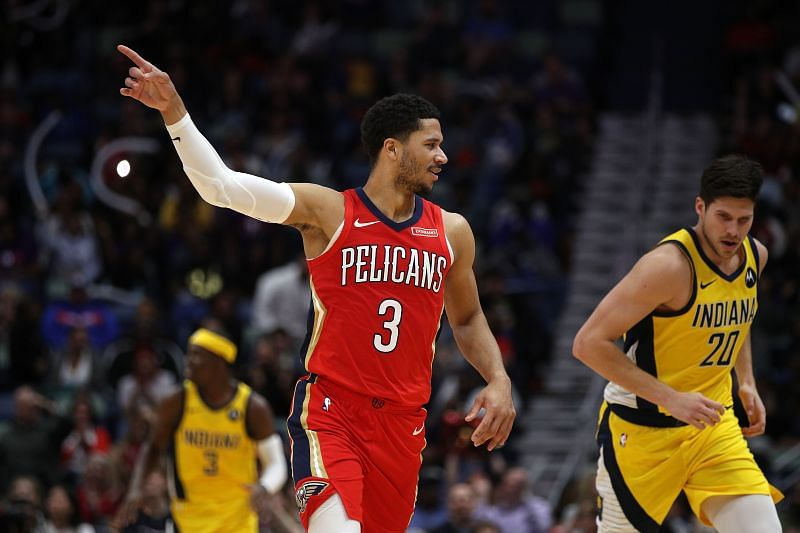 Josh Hart of the New Orleans Pelicans reacts after a three-point shot.