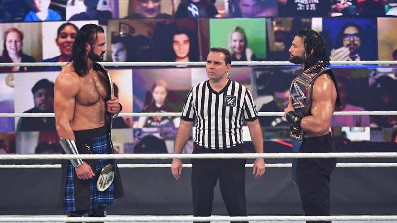 Drew McIntyre and Roman Reigns at Survivor Series 2020