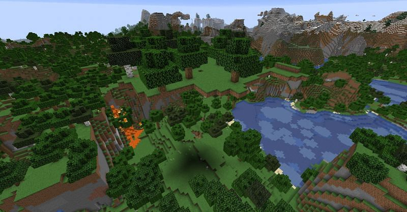 A small floating island with lava nearby (Image via Minecraft)