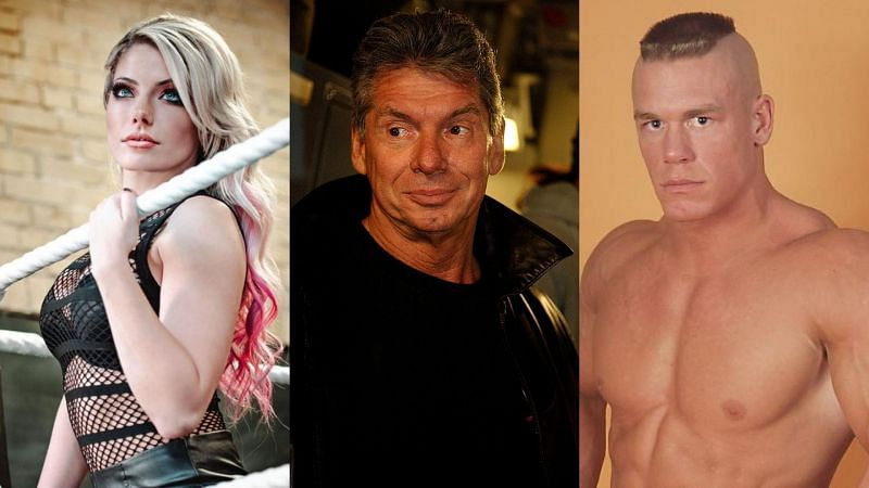 Alexa Bliss, Vince McMahon, and John Cena
