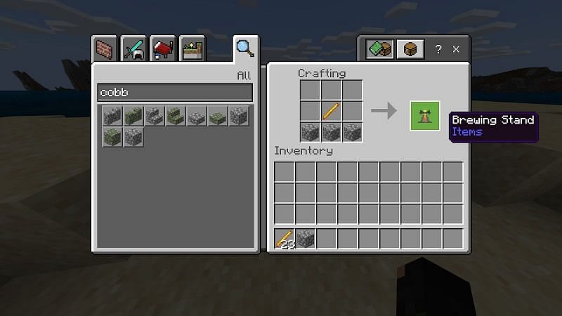 Using your blaze rod, combine it with three pieces of cobblestone in a crafting table to make a brewing stand