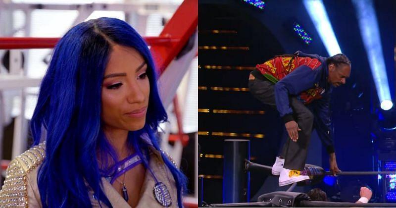 Sasha Banks and Snoop Dogg.