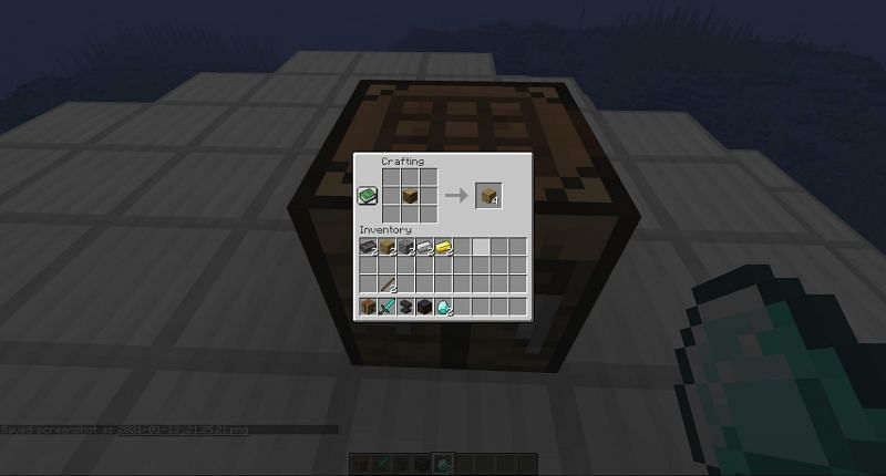 Crafting a wooden plank in Minecraft