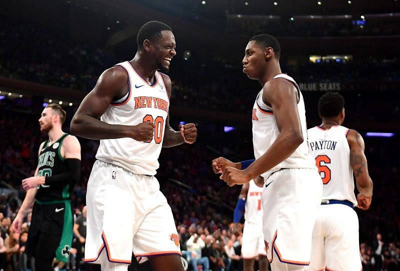 RJ Barrett and Julius Randle in action for the New York Knicks