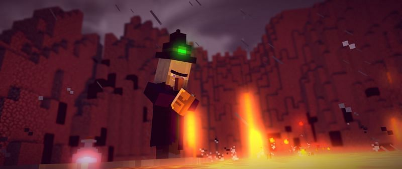 A witch reading a spell book in Minecraft. (Image via wallpapercave.com)