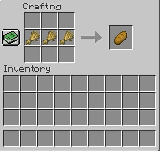 Crafting a bread in Minecraft