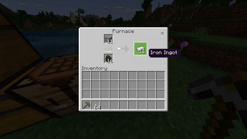 Making iron ingots to make buckets in minecraft