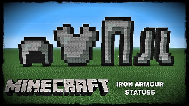 Art pieces of iron armor crafted out of blocks in Minecraft. (Image via ShiftyKangaroo/YouTube)
