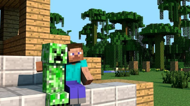 Steve and a creeper mob sitting together in Minecraft. (Image via wallpapermemory.com)