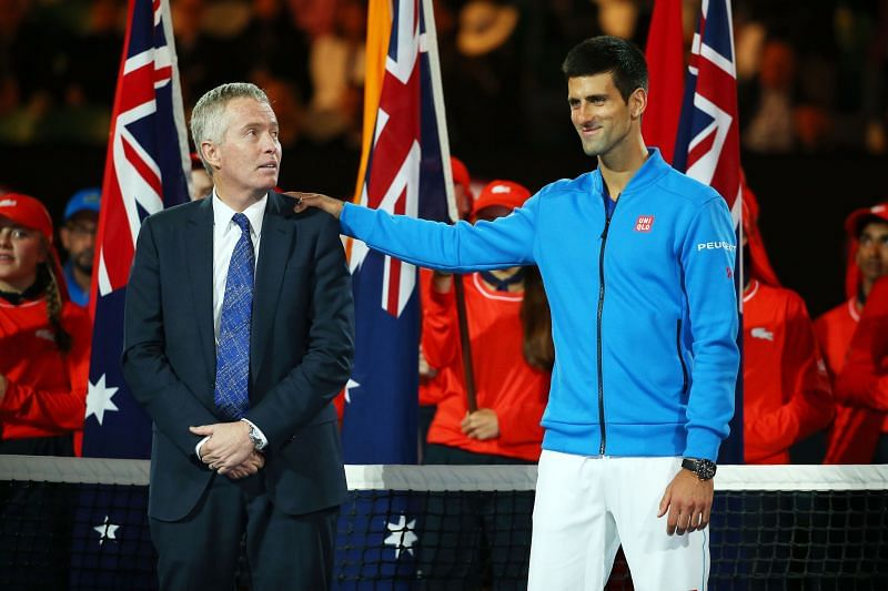 Novak Djokovic with Craig Tiley at the 2015 Australian Open