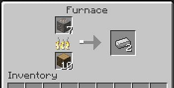 Iron ingot is produced when one iron ore is burned in the furnace in presence of a fuel source