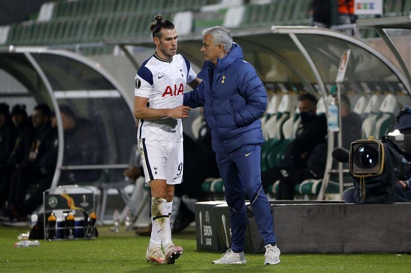 Gareth Bale (left) and Jose Mourinho