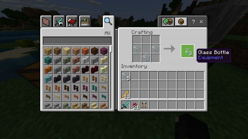 Crafting a glass bottle in Minecraft