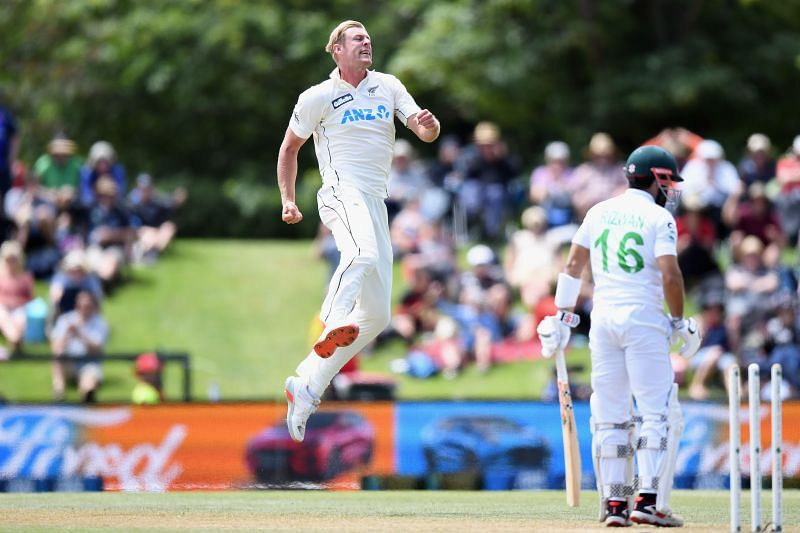 Kyle Jamieson celebrates taking a wicket against Pakistan.