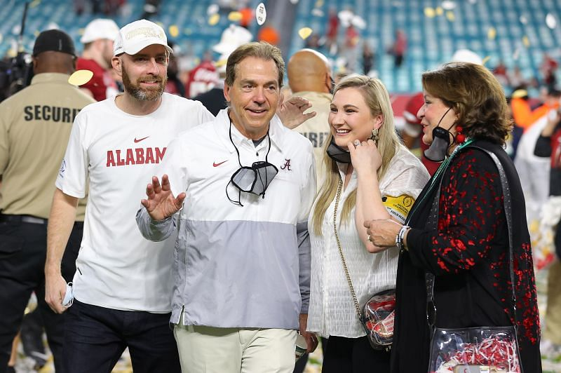 Nick Saban celebrates his 7th National Championship with his family