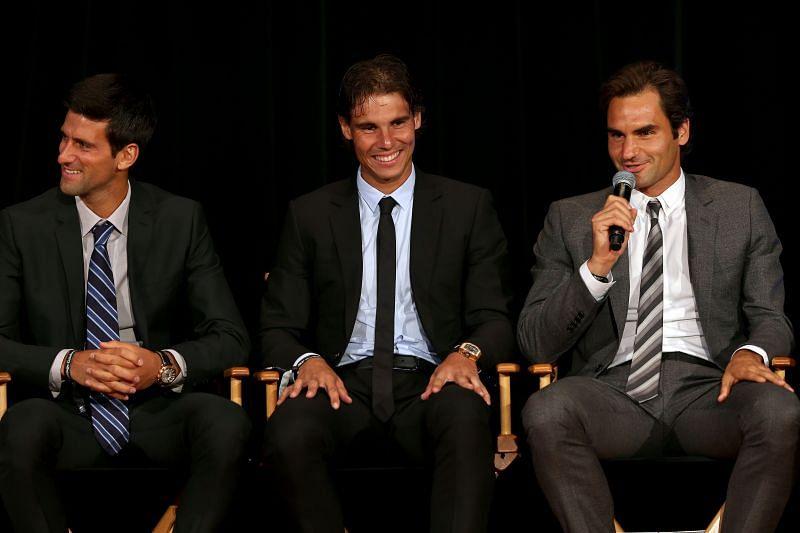 Novak Djokovic; Rafael Nadal and Roger Federer