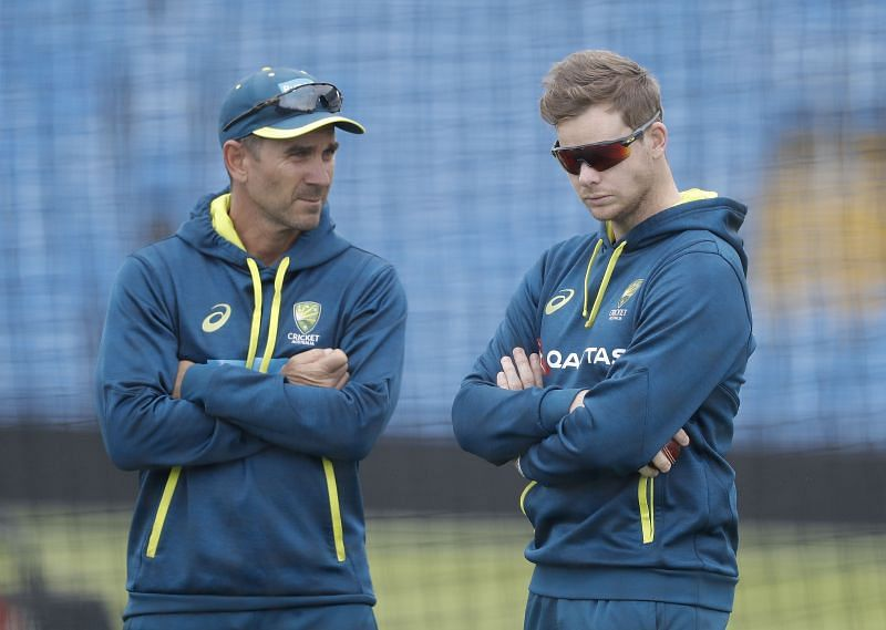 Justin Langer (left) backed Steve Smith in the scuffing controversy.