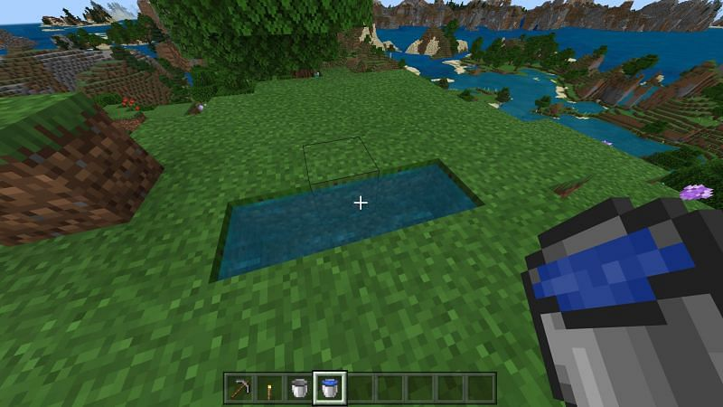 Step 1 for making infinite water source in minecraft